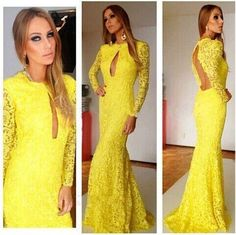 AUTUMN WOMEN LONG MAXI LACE DRESS WINTER LONG-SLEEVE BODYCON BANDAGE DRESSES FASHION YELLOW SEXY BACKLESS PARTY DRESS VESTIDOS COCKTAIL CLUBWEAR