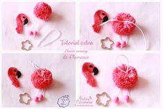 Tutorial de Flamencos Flamingo Craft, Flamingo Decor, Pom Pom Crafts, Felt Crafts, Valentine Crafts, Christmas Crafts, School Board Decoration, Pom Pom Animals, Pom Pom Bag Charm