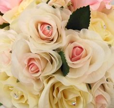 Pale pink roses in a bridal bouquet... by Emma Hall Designs