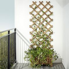 Backyard Ideas Discover ASKHOLMEN Flower box with trellis outdoor gray-brown stained - IKEA Hanging Plants, Potted Plants, Outdoor Plants, Outdoor Decor, Ikea Outdoor, Plants Indoor, Ikea Patio, Small Outdoor Spaces, Outdoor Walls