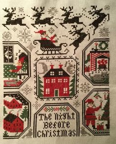 completed cross stitch Prairie Schooler The Night Before Christmas sampler