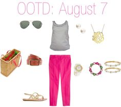 """""""OOTD: August 7"""" by thepinkandgreenprep on Polyvore"""