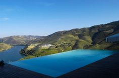 Crasto pool (Arq. Souto Moura) overlooking The Douro Valley (UNESCO World Heritage, home of Port wine) - Portugal