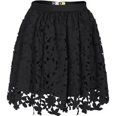 MSGM Floral Laser Cut Black Flared skirt with cut-out pattern found on Polyvore