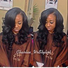 Beautiful curls and side bangs