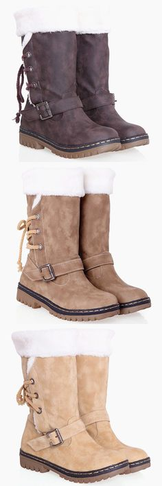 $27.63 Vintage Suede and Buckle Design Women's Boots