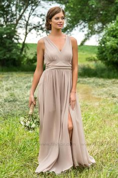 Long Classy Sheer Taupe Bridesmaid Dress perfect for Country Wedding Taupe Bridesmaid Dresses, Wedding Bridesmaids, Wedding Tips, Wedding Dresses, Summer Wedding, Wedding Reception, Decor Wedding, Reception Ideas, Taupe Wedding