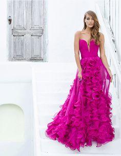 Pink Silk dress, custom Pink Strapless low V neck ruffle dress.. For Custom Orders contact Paul at edelascasas@aol.com