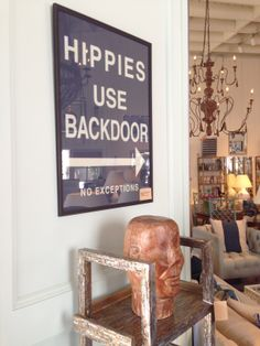 """""""Hippies Use Backdoor"""" vintage poster"""