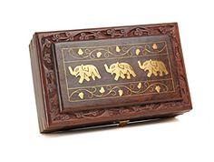 Christmas Gift Richly Hand Carved Elephant Motif Brass Inlay Storage Box Store Indya $29.99