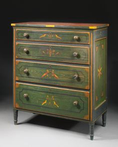 An Important FederalRed-and-Green Paint-Decorated Yellow Pine and Poplar Chest of Drawers, Attributed to Johannes Braun, with decoration attributed to Johann Valentin Schuller, Jr., Mahantongo Valley, Pennsylvania, 1829   lot   Sotheby's