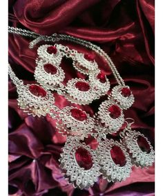 Royal silver plated jewellery set set in ruby red