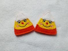 Candy Corn Silly Face Felt Applique Embroidery Design