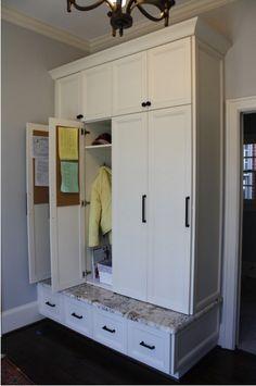 Diy mudroom lockers garage mudroom makeover the mud for Entryway lockers with doors