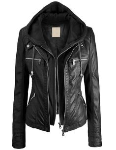 Lock and Love Women's 2-For-One Hooded Faux leather Jacket at Amazon Women's Clothing store::