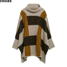 Women 2 Colors Plaid Batwing Long Sleeve Knitted Cape Sweater 2016 New Brand…