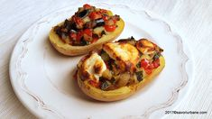 Cartofi umpluti cu legume (ratatouille) reteta de post | Savori Urbane Ratatouille, Bruschetta, Mozzarella, Baked Potato, Feta, Vegetarian Recipes, Food And Drink, Potatoes, Baking