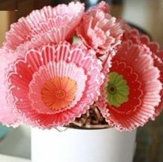Flowers made from Cupcake Liners