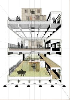 perspective section showing floors, structure, spatial atmosphere