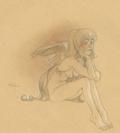 Claire Wendling - Daisies - color pencil, in Daniel Maghen's Claire Wendling Comic Art Gallery Room - 690241