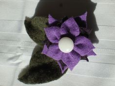 Flower Pin No059 Felted Purple Cashmere Plum Merino Wool and Loden Cashmere by woodstreamdream on Etsy