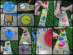 Lids, Caps & Bottle Tops!! Recycle all those plastic lids and keep little hands busy! Great idea for outside play!