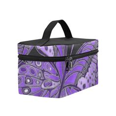 Purple Butterfly Pattern Cosmetic Bag/Large (Model 1658)