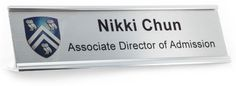 Silver name plate for your desk! namebadge.com