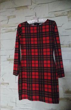 modna sukienka w czerwono- czarną kratę S - vinted.pl