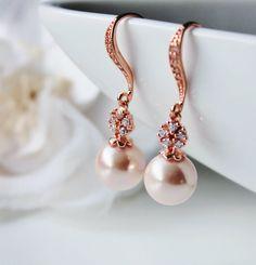 Rose Gold bridal earrings Pearl wedding bridal jewelry Rose Pink Shell pearl earrings Pink Gold wedding earrings rose gold bridal jewelry