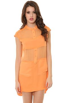 The Micro Panel Silk Dress in Apricot by Funktional