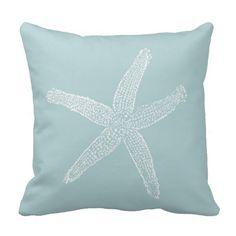 Vintage Starfish Illustration Pastel Seafoam Blue Throw Pillows