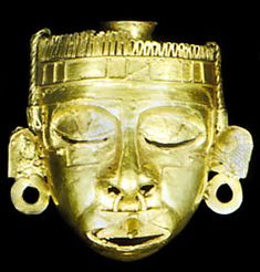 """Mask of Xipe Totec, gold, cast by the """"lost-wax"""" method, Mixtec culture, c. 900–1494; in the Regional Museum, Oaxaca, Mex. Height 7 cm."""