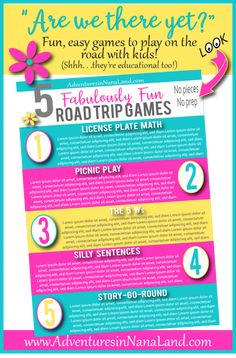 Traveling with kids or grandkids? Get our top 5 Fabulously Fun Road Trip Games that the kids will LOVE! There are no pieces or prep necessary. Just download and go! They're fun for the whole family and the best part is we are giving it to you completely FREE! #travelingwithkids, #travelingwith grandkids