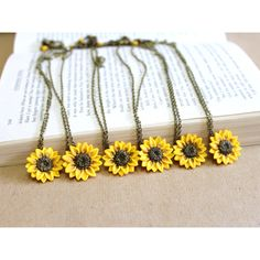 SET of 6 Sunflower Necklace,Sunflower Jewelry,Gifts,Yellow Sunflower... ($115) ❤ liked on Polyvore featuring jewelry, nikush jewelry art studio, summer jewelry set of 5, sunflower bracelet, sunflower jewelry, yellow bridesmaid jewelry, bridal jewelry, blossom necklace, bridal jewellery and bridal necklace