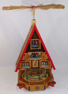 "HUGE 32"" ~Richard Glaesser~ Pyramid German Christmas Windmill Nativity LARGEST!"