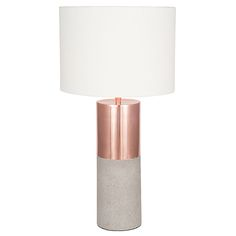 Copper and Concrete Lamp with Handloom White Shade | Lighting | Accessories #barkerandstonehouse
