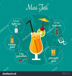 Vector illustration of popular alcoholic cocktail Mai Tai with a detailed recipe and ingredients in flat style