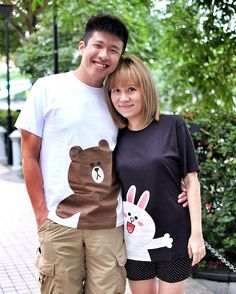 The mister and I in the new @uniqlosg LINE Friends T-Shirts for reunion dinner tonight. Omg this collection is soooo cute I think I am going to buy all the Brown & Cony tees! @line.sg #linesingapore by misstamchiak