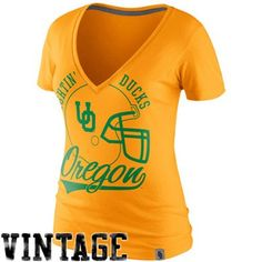 Nike Oregon Ducks Women's College Vault Helmet Deep V-Neck T-Shirt - Yellow