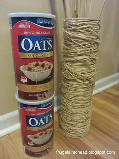 """Frugal Ain't Cheap: How to make a tall """"vase"""" out of Raffia and Oatmeal containers"""