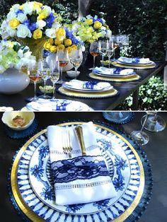 mesa clássica, mesa de jantar, mesa posta, como colocar a mesa, we share ideas, tablescape decor, mesa azul e amarela