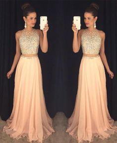 Sexy Peach Prom Dress, Beading Prom Dress,2016 Prom