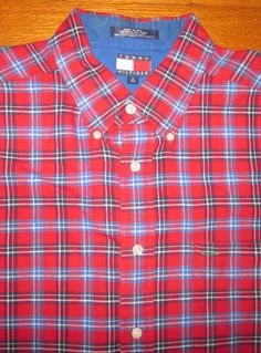 Tommy Hilfiger Men's Plaid Red White Blue L/S  Shirt L Large 100% Cotton #TommyHilfiger #ButtonFront
