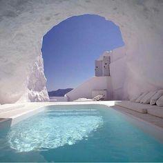 Hot tub in Santorini, Greece.  Yes please