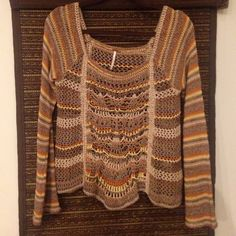 Free People sweater Statement sweater. Detail front design. Long bell sleeves. Color combo is beautiful. Worn once. Free People Sweaters Crew & Scoop Necks