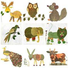 #animals #art with kids #leavs #paper #diy