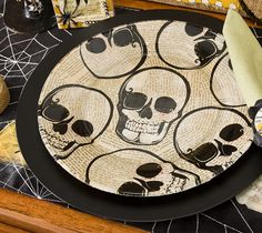 DIY Halloween Plate with Dollar Store Skull Napkins and Mod Podge...So Easy!