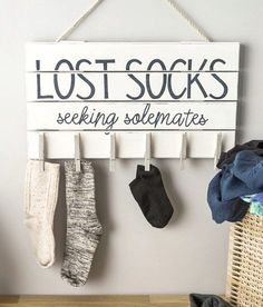 Love the idea for a Lost Socks sign in laundry room decor #homedecor @istandarddesign