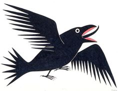 Singing Raven by Kenojuak Ashevak - Inuit art